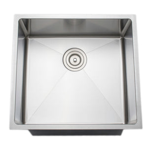 "Wells Sinkware Handcrafted 21"" x 21"" 16-gauge Undermount Single Bowl Stainless Steel Kitchen Sink CSU2119-9"