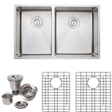 "Load image into Gallery viewer, Wells Sinkware Handcrafted 30"" x 19"" 16-gauge Undermount 4:5 Double Bowl Stainless Steel Kitchen Sink with Grid Racks and Basket Strainers"