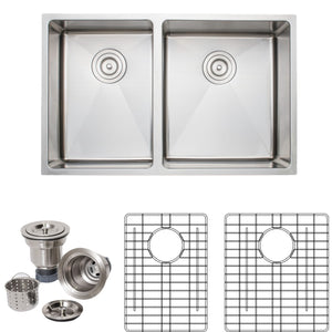 "Wells Sinkware Handcrafted 30"" x 19"" 16-gauge Undermount 4:5 Double Bowl Stainless Steel Kitchen Sink with Grid Racks and Basket Strainers"