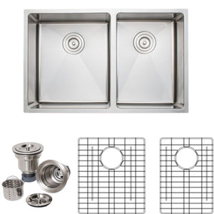 "Wells Sinkware Handcrafted 30"" x 19"" 16-gauge Undermount 5:4 Double Bowl Stainless Steel Kitchen Sink with Grid Racks and Basket Strainers"