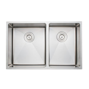 "Wells Sinkware Handcrafted 30"" x 19"" 16-gauge Undermount 5:4 Double Bowl Stainless Steel Kitchen Sink"