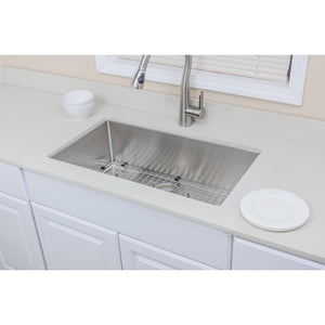 "Wells Sinkware Handcrafted 32"" 16-gauge Undermount Single Bowl Stainless Steel Kitchen Sink with Grid Rack and Basket Strainer"