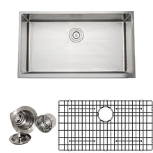 "Load image into Gallery viewer, Wells Sinkware Handcrafted 33"" 16-gauge Apron Front Farmhouse Single Bowl Stainless Steel Kitchen Sink with Grid Rack and Basket Strainer CSU3319-9-AP-1"