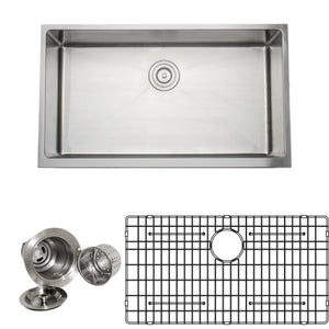 "Wells Sinkware Handcrafted 33"" 16-gauge Apron Front Farmhouse Single Bowl Stainless Steel Kitchen Sink with Grid Rack and Basket Strainer CSU3319-9-AP-1"