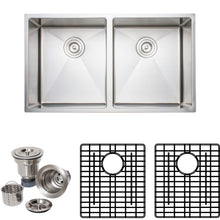 "Load image into Gallery viewer, Wells Sinkware Handcrafted 33"" 16-gauge Undermount 50/50 Double Bowl Stainless Steel Kitchen Sink with Grid Racks and Basket Strainers CSU3319-99-1"