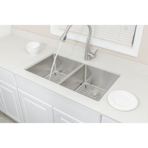 "Wells Sinkware Handcrafted 33"" 16-gauge Undermount 50/50 Double Bowl Stainless Steel Kitchen Sink with Grid Racks and Basket Strainers CSU3319-99-1"