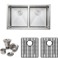 "Load image into Gallery viewer, Wells Sinkware 33"" 16-gauge Apron Front Farmhouse 50/50 Double Bowl Stainless Steel Kitchen Sink w/ Grid Racks and Basket Strainers CSU3319-99-AP-1"