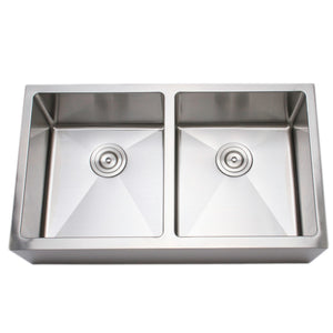 "Wells Sinkware 33"" 16-gauge Apron Front Farmhouse 50/50 Double Bowl Stainless Steel Kitchen Sink w/ Grid Racks and Basket Strainers CSU3319-99-AP-1"