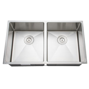 "Wells Sinkware Handcrafted 33"" 16-gauge Undermount 50/50 Double Bowl Stainless Steel Kitchen Sink CSU3319-99"