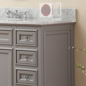 "Water Creation 48"" Cashmere Grey Single Sink Bathroom Vanity with Matching Framed Mirror and Faucet From The Derby Collection DERBY48GBF"