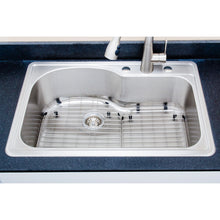 "Load image into Gallery viewer, Wells Sinkware 33"" 18-gauge Drop-in Single Bowl Stainless Steel Sink with Grid Rack and Basket Strainer"