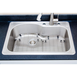 "Wells Sinkware 33"" 18-gauge Drop-in Single Bowl Stainless Steel Sink with Grid Rack and Basket Strainer"