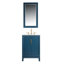 "Load image into Gallery viewer, Water Creation Elizabeth 24"" Single Sink Carrara White Marble Vanity in Monarch Blue with Matching Mirror(s) VEL024CWMB01"