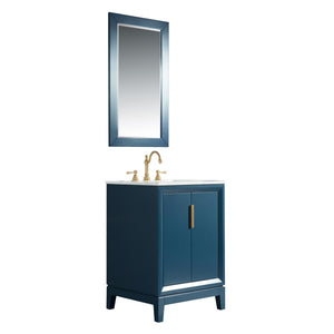 "Water Creation Elizabeth 24"" Single Sink Carrara White Marble Vanity in Monarch Blue with Matching Mirror(s) VEL024CWMB01"