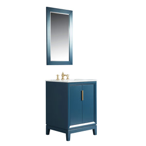 "Water Creation Elizabeth 24"" Single Sink Carrara White Marble Vanity in Monarch Blue with F2-0013-06-FX Lavatory Faucet(s) VEL024CWMB42"