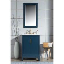 "Load image into Gallery viewer, Water Creation Elizabeth 24"" Single Sink Carrara White Marble Vanity in Monarch Blue with F2-0012-06-TL Lavatory Faucet(s) VEL024CWMB37"