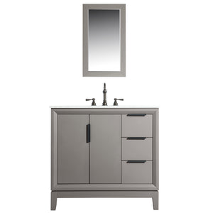 "Water Creation Elizabeth 36"" Single Sink Carrara White Marble Vanity in Cashmere Grey with Matching Mirror(s) VEL036CWCG01"