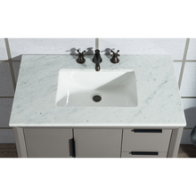 "Load image into Gallery viewer, Water Creation Elizabeth 36"" Single Sink Carrara White Marble Vanity in Cashmere Grey with Matching Mirror(s) VEL036CWCG01"