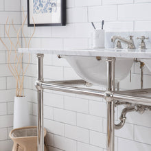 "Load image into Gallery viewer, Water Creation Embassy 60"" Wide Double Wash Stand Only in Polished Nickel (PVD) Finish EB60A-0500"
