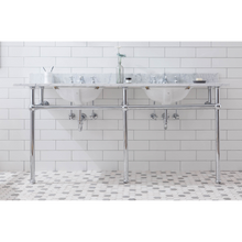 "Load image into Gallery viewer, Water Creation Embassy 72"" Wide Double Wash Stand, P-Trap, Counter Top with Basin, and F2-0009 Faucet Included in Chrome Finish EB72D-0109"