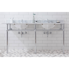"Load image into Gallery viewer, Water Creation Embassy 72"" Wide Double Wash Stand, P-Trap, Counter Top with Basin, F2-0013 Faucet and Mirror Included in Chrome Finish EB72E-0113"