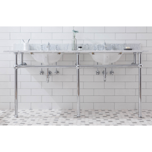"Water Creation Embassy 72"" Wide Double Wash Stand, P-Trap, Counter Top with Basin, F2-0013 Faucet and Mirror Included in Chrome Finish EB72E-0113"