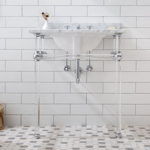 "Water Creation Empire 30"" Wide Single Wash Stand, P-Trap, Counter Top with Basin, F2-0009 Faucet and Mirror Included in Chrome Finish EP30E-0109"