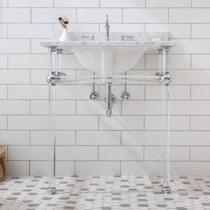 "Water Creation Empire 30"" Wide Single Wash Stand, P-Trap, Counter Top with Basin, F2-0012 Faucet and Mirror Included in Chrome Finish EP30E-0112"