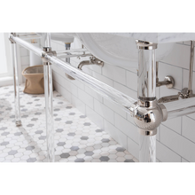 "Load image into Gallery viewer, Water Creation Empire 72"" Wide Double Wash Stand, P-Trap, Counter Top with Basin, and F2-0009 Faucet Included in Polished Nickel (PVD) Finish EP72D-0509"
