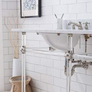"Water Creation Empire 72"" Wide Double Wash Stand, P-Trap, Counter Top with Basin, and F2-0009 Faucet Included in Polished Nickel (PVD) Finish EP72D-0509"