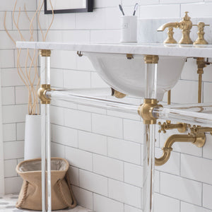 "Water Creation Empire 72"" Wide Double Wash Stand, P-Trap, Counter Top with Basin, F2-0013 Faucet and Mirror Included in Satin Gold Finish EP72E-0613"