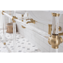 "Load image into Gallery viewer, Water Creation Empire 72"" Wide Double Wash Stand, P-Trap, Counter Top with Basin, F2-0013 Faucet and Mirror Included in Satin Gold Finish EP72E-0613"