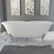 "Load image into Gallery viewer, Cambridge Plumbing 69"" x 32"" Dolomite Mineral Composite Double Ended Clawfoot Tub with Polished Chrome Feet and Drain Assembly ES-DE69-NH-CP"