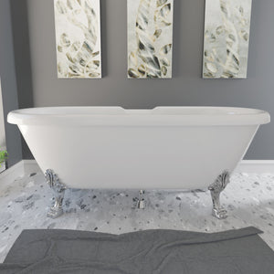 "Cambridge Plumbing 69"" x 32"" Dolomite Mineral Composite Double Ended Clawfoot Tub with Polished Chrome Feet and Drain Assembly ES-DE69-NH-CP"