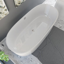 "Load image into Gallery viewer, Cambridge Plumbing 71"" x 33 1/2"" Dolomite Mineral Composite Freestanding Double Ended Tub ES-FSDE71-CP"