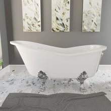 "Load image into Gallery viewer, Cambridge Plumbing 62"" x 30"" Dolomite Mineral Composite Clawfoot Slipper Tub with Polished Chrome Feet and Drain Assembly ES-ST62-NH-CP"
