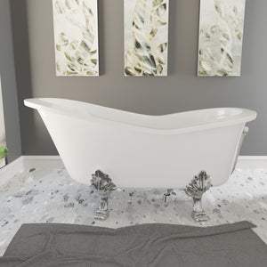 "Cambridge Plumbing 62"" x 30"" Dolomite Mineral Composite Clawfoot Slipper Tub with Polished Chrome Feet and Drain Assembly ES-ST62-NH-CP"
