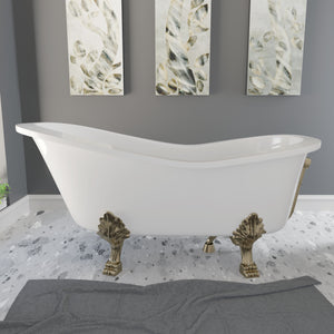 "Cambridge Plumbing 66"" x 30"" Dolomite Mineral Composite Clawfoot Slipper Tub with Antique Brass Feet and Drain Assembly ES-ST66-NH-AB"