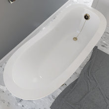 "Load image into Gallery viewer, Cambridge Plumbing 66"" x 30"" Dolomite Mineral Composite Clawfoot Slipper Tub with Antique Brass Feet and Drain Assembly ES-ST66-NH-AB"