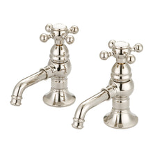 Load image into Gallery viewer, Water Creation Vintage Classic Basin Cocks Lavatory Faucets With Metal Cross Handles & Hot And Cold Labels