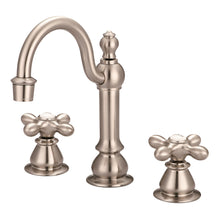 "Load image into Gallery viewer, Water Creation 8"" Widespread Lavatory F2-0012 Faucet With Pop-Up Drain, Metal Cross Handles & Hot And Cold Labels"