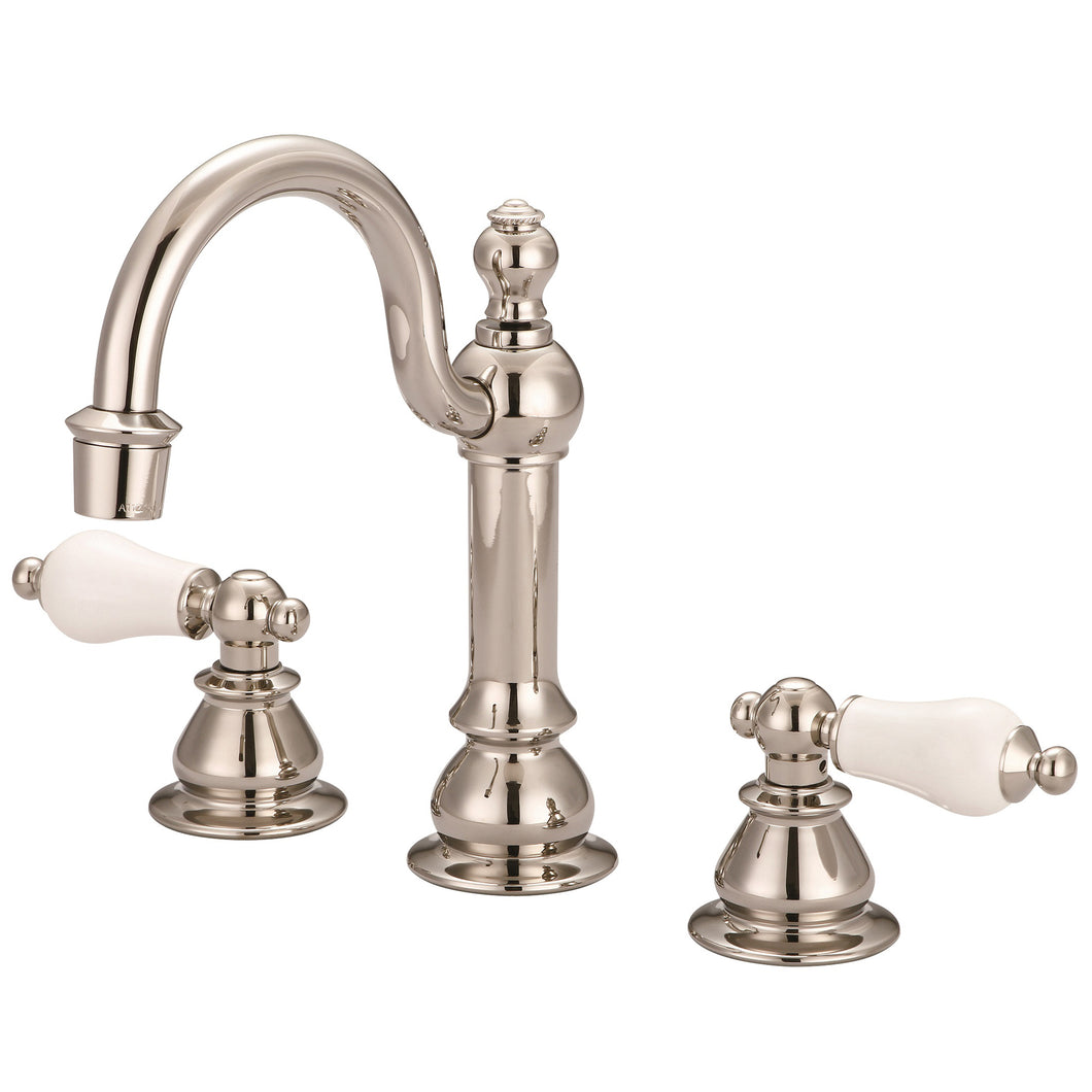 American 20th Century Classic Widespread Lavatory F2-0012 Faucet With Pop-Up Drain & Porcelain Lever Handles