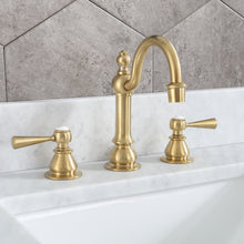 "Load image into Gallery viewer, Water Creation 8"" F2-0012-06-TL Satin Gold High Arc Torch Lever Handle True Brass Lavatory Faucet"