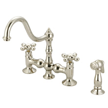 "Load image into Gallery viewer, Water Creation 8"" Bridge Style Kitchen Faucet With Side Spray To Match, Metal Cross Handles & Hot And Cold Labels"