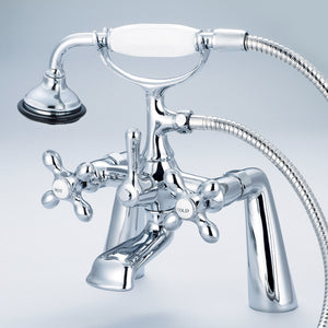 "Water Creation Vintage Classic 7"" Spread Deck Mount Tub Faucet With Handheld Shower, Metal Cross Handles & Hot And Cold Labels"