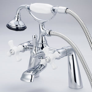 "Vintage Classic 7"" Spread Deck Mount Tub Faucet With Handheld Shower, Porcelain Cross Handles, Hot And Cold Labels"