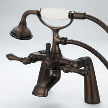"Load image into Gallery viewer, Vintage Classic 7"" Spread Deck Mount Tub Faucet With Handheld Shower & Metal Lever Handles"