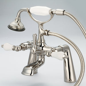 "Water Creation Vintage Classic 7"" Spread Deck Mount Tub Faucet With Handheld Shower & Porcelain Lever Handles"