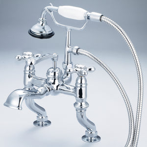 Water Creation Adjustable Center Deck Mount Tub Faucet With Handheld Shower, Metal Cross Handles & Hot And Cold Labels