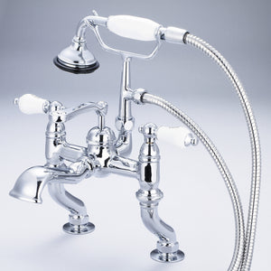 Water Creation Vintage Classic Adjustable Center Deck Mount Tub Faucet With Handheld Shower, Porcelain Lever Handles & Hot And Cold Labels